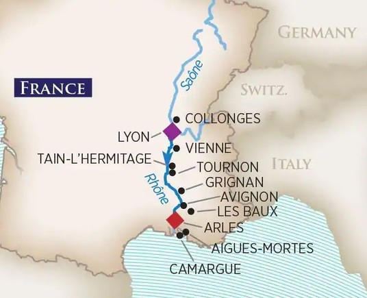 Itinerary Map of Rhone River Cruise